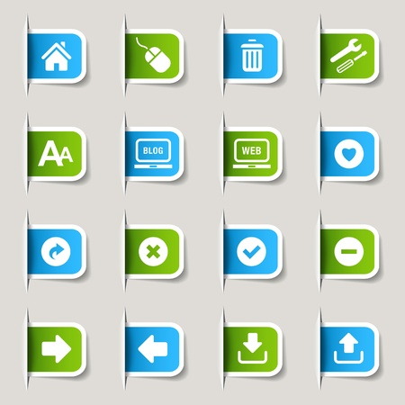 inbox: Label - Website and Internet Icons Illustration