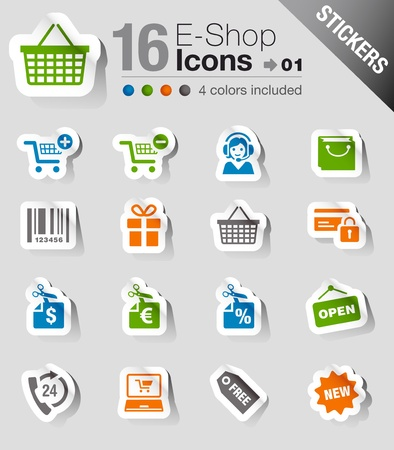 shopping trolleys: Stickers - Shopping icons