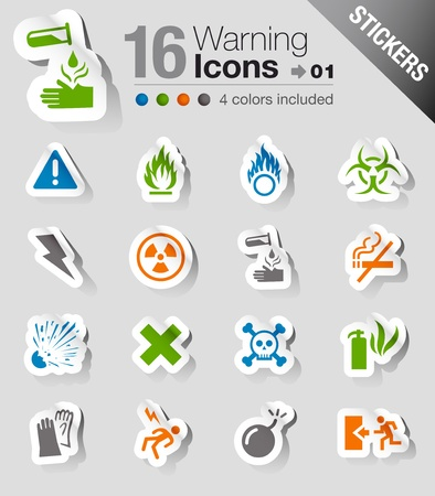 Stickers - Warning icons Stock Vector - 13571312