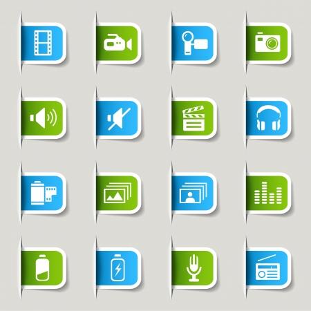 button batteries: Label - Media Icons Illustration