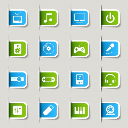 usb disk: Label - Media Icons Illustration