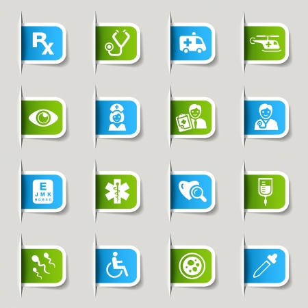 hospitals: Label - Medical Icons Illustration
