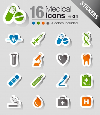 Glossy Stickers - Medical Icons Stock Vector - 14906395