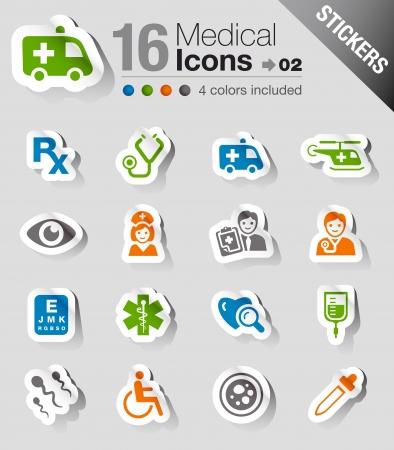 urgencias medicas: Pegatinas Brillantes - Iconos M�dicos Vectores