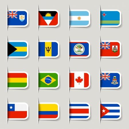 drapeaux am�ricain: D'�tiquettes - Drapeaux am�ricains Illustration