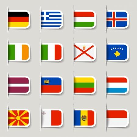 italy flag: Etiquetas - Indicadores Europeos Vectores
