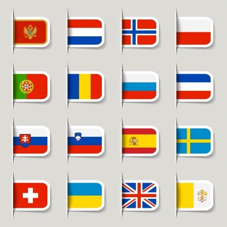 bandera de suecia: Etiquetas - Indicadores Europeos Vectores