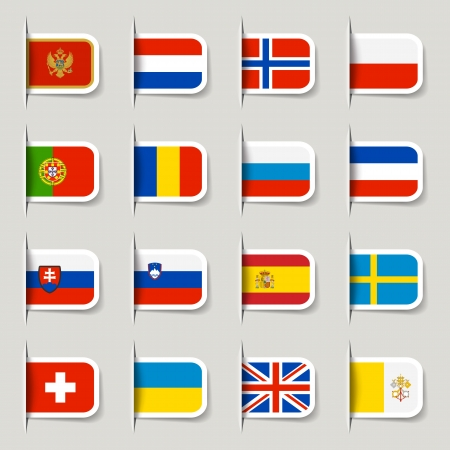 international flags: Label - European Flags