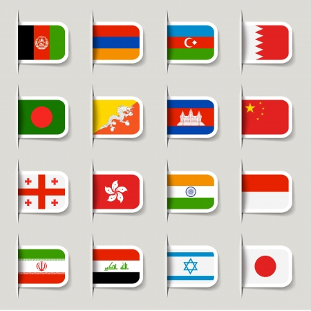 Label - Asian Flags Vector