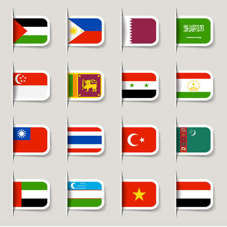 Label - Asian Flags Stock Photo - 14973665