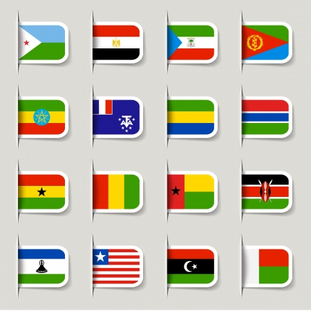 continents: Label - African Flags Illustration
