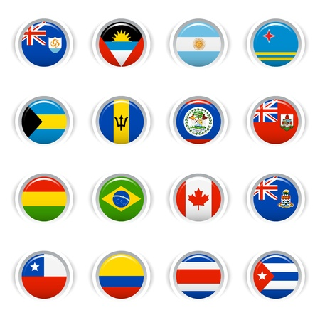 Glossy Buttons - American Flags Vector