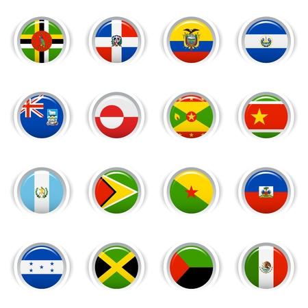 continente americano: Botones brillante - Banderas de América