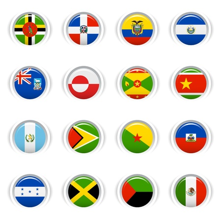 dominican republic: Glossy Buttons - American Flags
