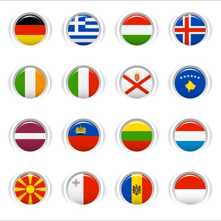 Glossy Buttons - European Flags Vector