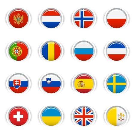 banderas del mundo: Botones brillantes - Indicadores Europeos Vectores