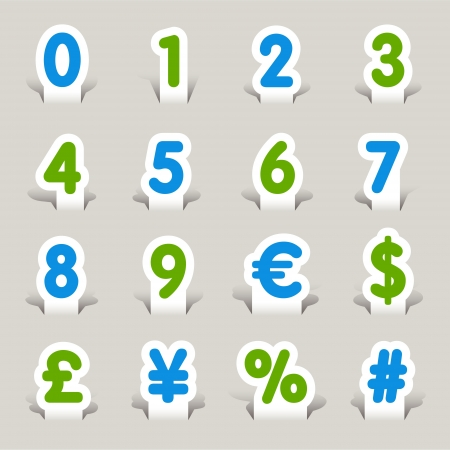 Paper Cut - Numbers  Vector