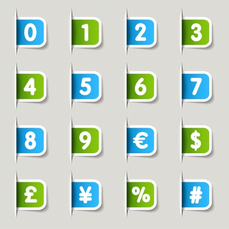 dollar icon: Label - Numbers Illustration