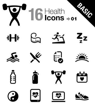 icone: Icone di salute e fitness - Base Vettoriali