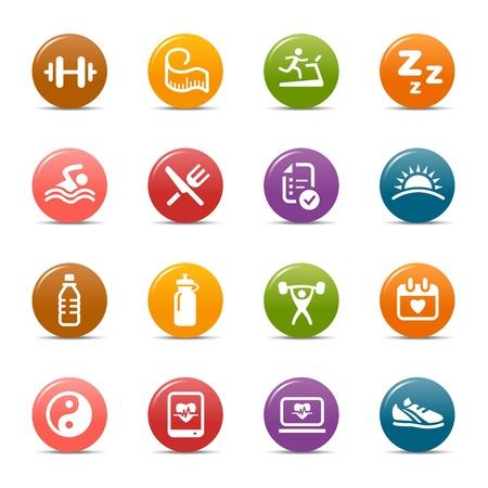 sports icon: Puntos coloreados - iconos de Salud y Bienestar