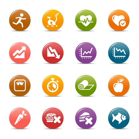 Colored Dots - Health and Fitness icons Imagens - 17533612