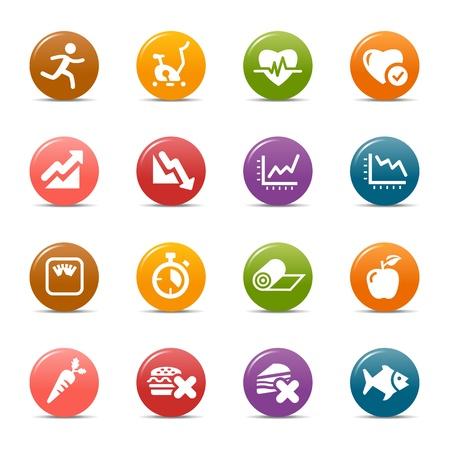 icone sanit�: Puntini colorati - icone Salute e Fitness Vettoriali