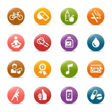 icono deportes: Puntos coloreados - iconos de Salud y Bienestar