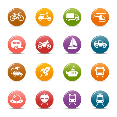 Colored Dots - Transportation icons Stock Vector - 17533607