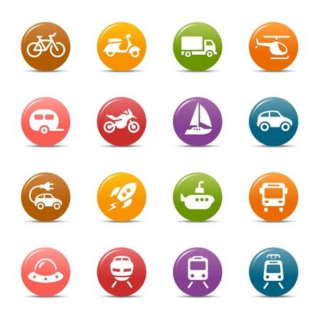 flying boat: Puntos coloreados - iconos de transporte