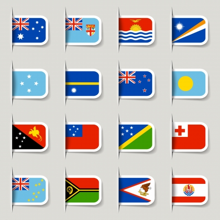 Label - Oceanian Flags Vector