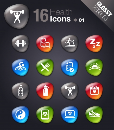 Glossy pebbles - Health and Fitness icons 矢量图像
