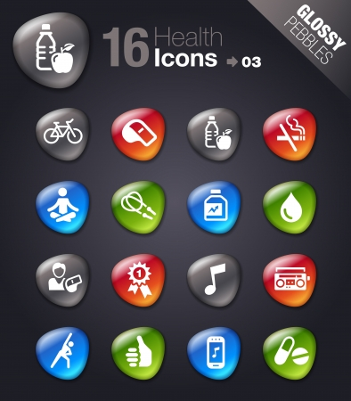 Glossy pebbles - Health and Fitness icons Vector