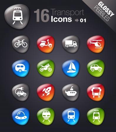 caravan: Glossy pebbles - Transportation icons Illustration
