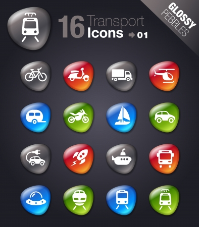 Glossy pebbles - Transportation icons Imagens - 17533683