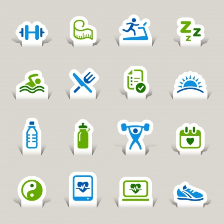 Paper Cut - Health and Fitness icons Stock Vector - 17533601