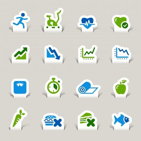 educacion fisica: Papel cortado - iconos de Salud y Bienestar Vectores
