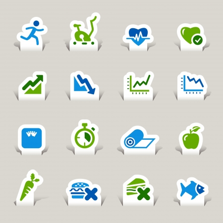Paper Cut - Health and Fitness icons Stock Vector - 17533603