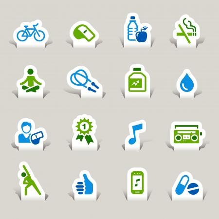 iconos educacion: Papel cortado - iconos de Salud y Bienestar Vectores
