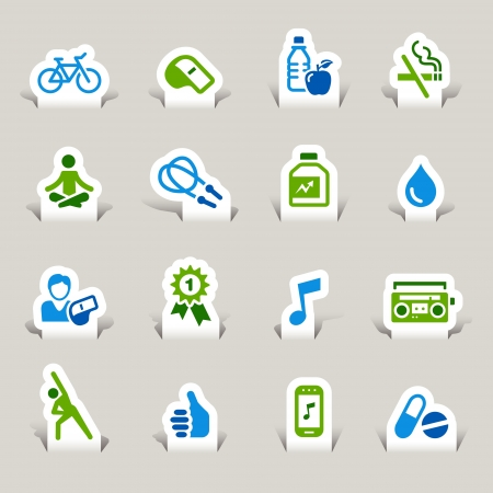 Paper Cut - Health and Fitness icons Vector