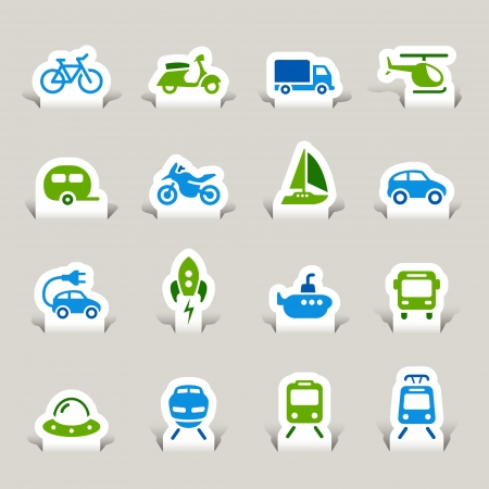 Paper Cut - Transportation icons Vector