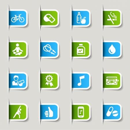 educacion fisica: Label - Iconos de Salud y Fitness Vectores