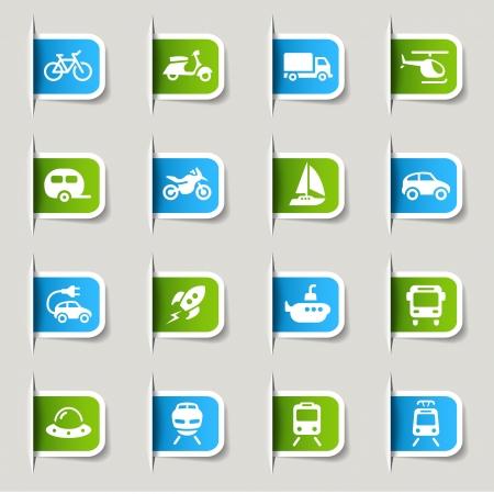 estacion tren: Label - iconos de transporte Vectores