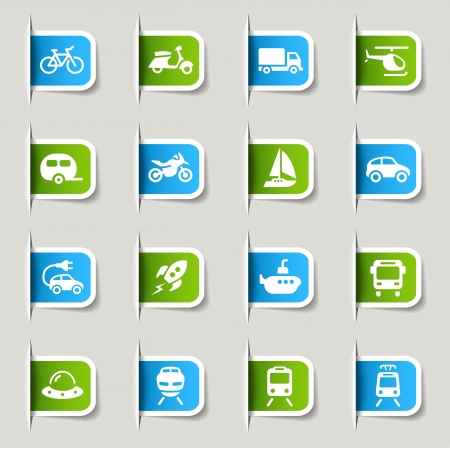 mode of transport: Label - iconos de transporte Vectores