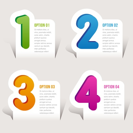 one, two, three, four options - graphic design