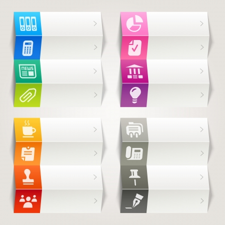 Rainbow - Office and Business icons   Navigation template 矢量图像