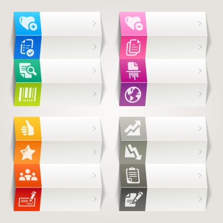 barcodes: Rainbow - Office and Business icons   Navigation template Illustration