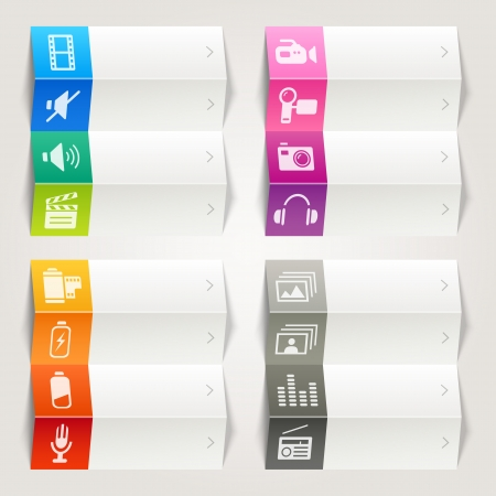 Rainbow - Media icons   Navigation template Vector