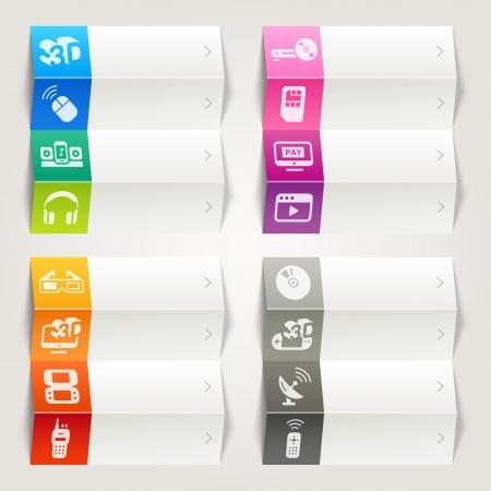 antena parabolica: Rainbow - Media plantilla de iconos de navegaci�n