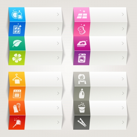 Rainbow - Cleaning and Household icons   Navigation template Vector