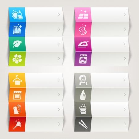 cleaning products: Rainbow - Limpieza y electrodomésticos del vector plantilla de navegación Vectores